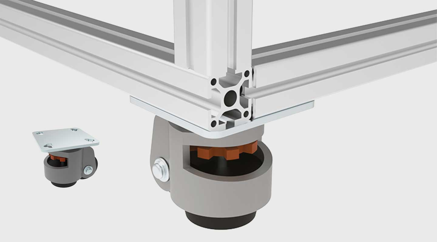 Leveling Castor with Mounting Plate 40 / 45